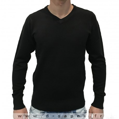 Pull pour homme avec col v couleur noire petit prix 19.90 €