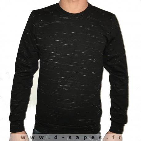 Sweat pour homme sans capuche couleur gris anthracite moucheté  nouvelle collection printemps 2016