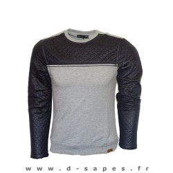 Sweat gris manche cuire matellassé